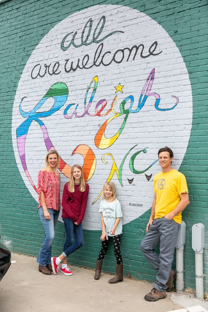 """All Are Welcome"" mural in Downtown Raleigh, North Carolina"
