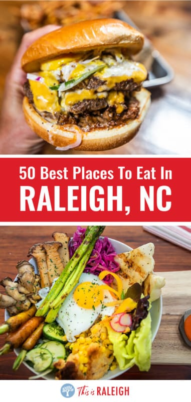 Looking for the best Raleigh restaurants? Look no further. Check out this list of 50 places to eat in Raleigh broken into categories of best burgers, pizza, BBQ, Southern, Italian, fine dining, vegetarian, breweries, bakeries, and more. Don't visit Raleigh before seeing this list!