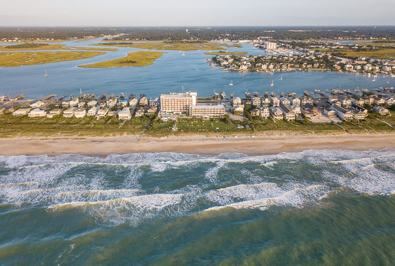 Wrightsville Beach and the sound behind it