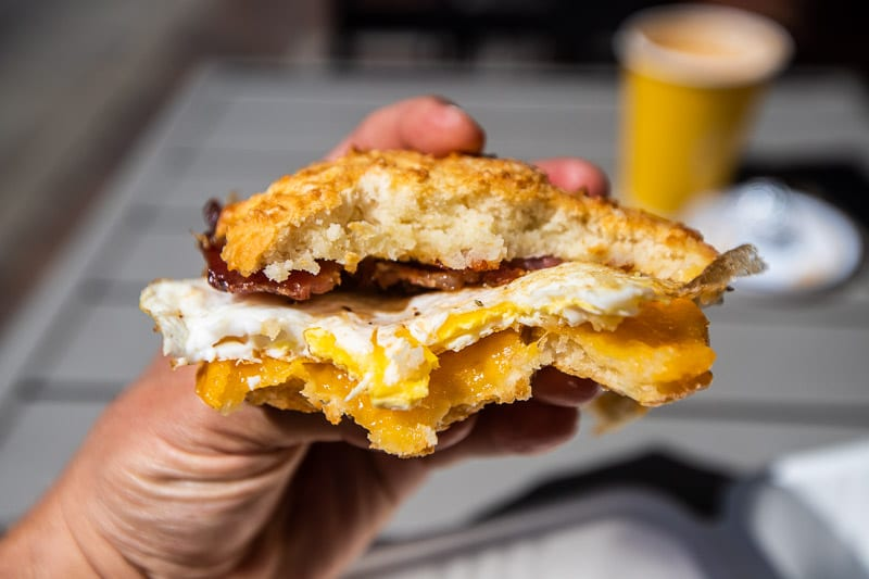 Biscuit with fried egg + cheese + bacon