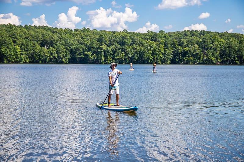 Padddle boarding on Lake Johnson, Raleigh