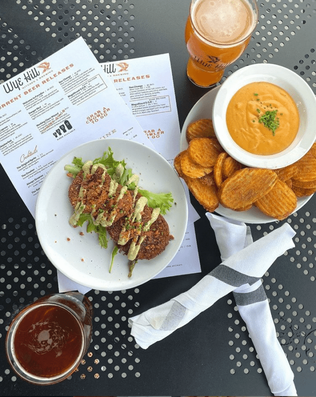 Fried Green Tomatoes and Beer Cheese Fries at Wye Hill Kitchen & Brewing, Raleigh, NC