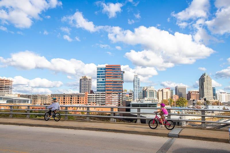 Biking through Downtown Raleigh