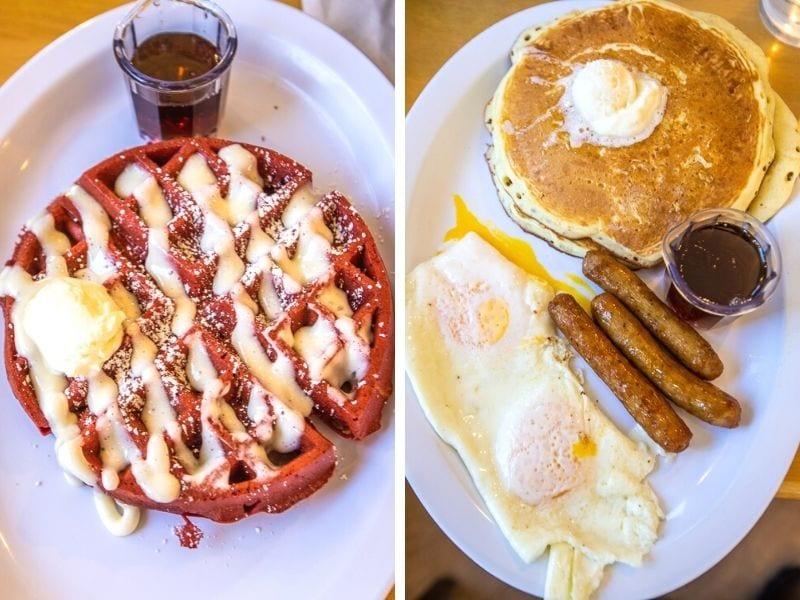 Red velvet waffles / Pancakes and eggs