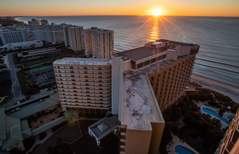 Sunrise from our balcony at the Royale Palms Condominiums