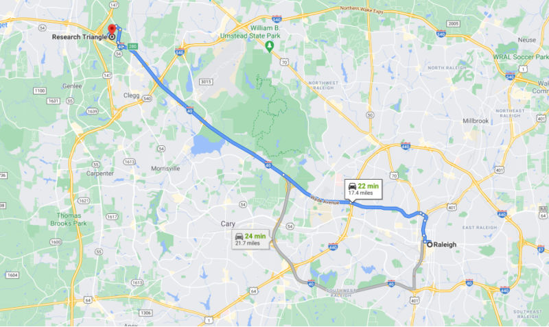 RTP is just over a 20 minute drive from downtown Raleigh