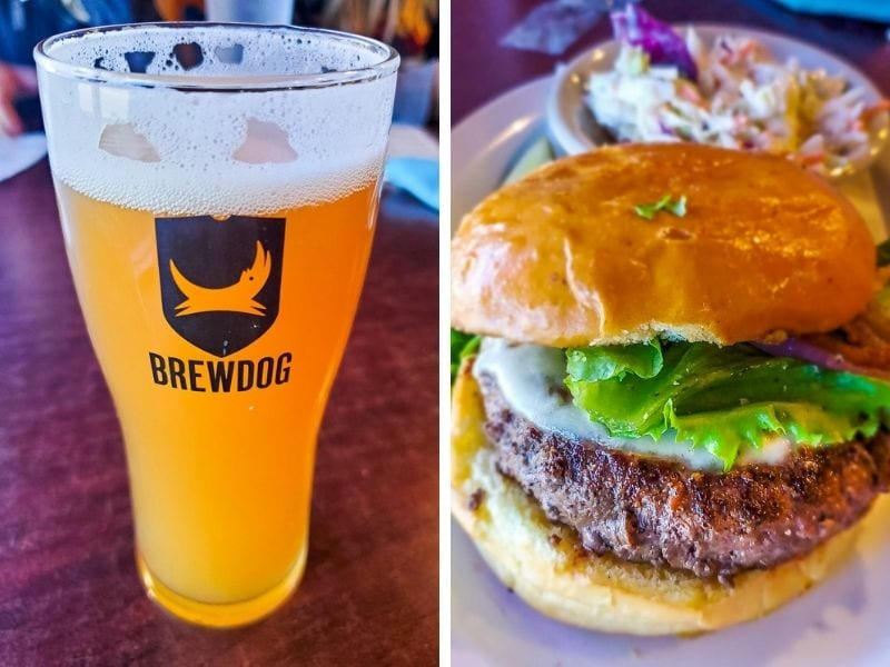 Beer and bison burger at The Crafty Rooster