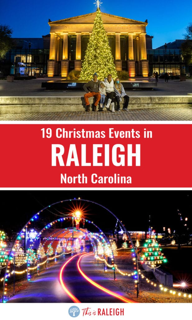 Looking for Christmas events in Raleigh NC? Check out this list of 19 fun holiday activities in Raleigh for the 2020 holiday season including light shows, getting your photo taken with Santa, holiday-themed cocktails and much more!