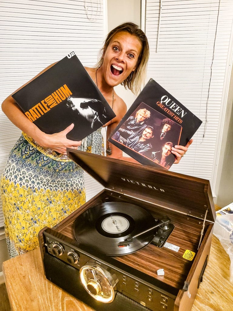 With my new Victrola vintage record player